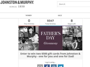 Johnston & Murphy's Father's Day Giveaway Sweepstakes