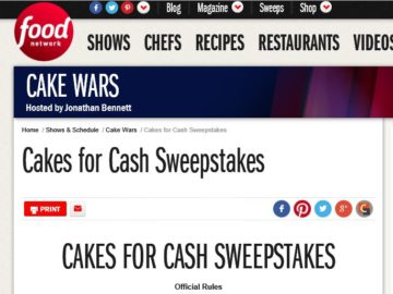 The Food Network Cakes for Cash Sweepstakes