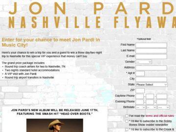 Jon Pardi Nashville Flyaway Sweepstakes