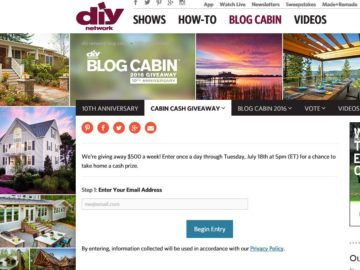 DIY Network Cabin Cash Giveaway Sweepstakes