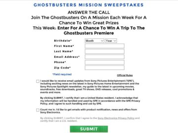 The Ghostbusters Twitter Mission Sweepstakes
