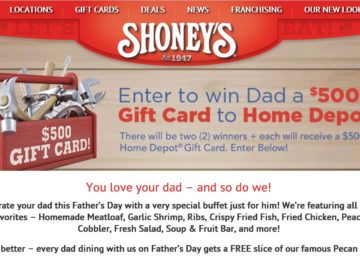The Shoney's Father's Day Giveaway Sweepstakes
