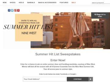 Nine West Summer Hit List Sweepstakes