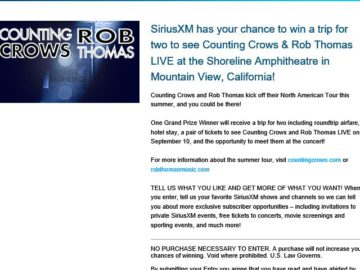 Counting Crows and Rob Thomas 2016 Tour SiriusXM Sweepstakes