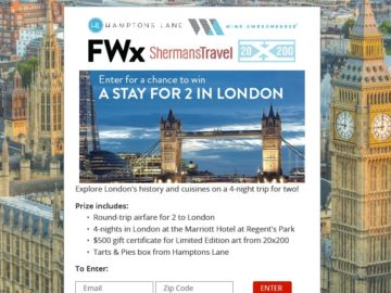 Hamptons Lane Discover Historic London Sweepstakes