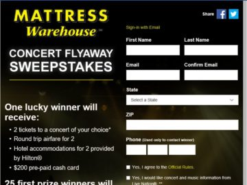 The Mattress Warehouse Flyaway sweepstakes