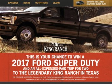 Ford outfitters adventure sweepstakes