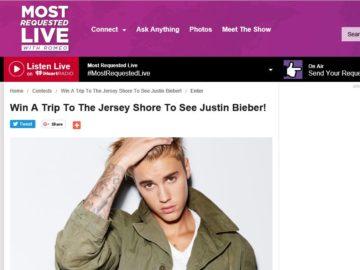 Romeo's Justin Bieber Flyaway Sweepstakes