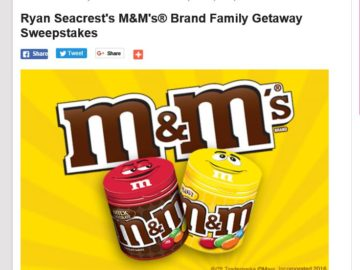 Ryan Seacrest's M&M's Brand Family Getaway Sweepstakes