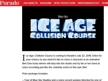 The Parade Ice Age: Collision Course Sweepstakes