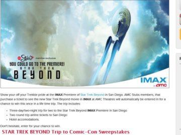 The Star Trek Beyond: IMAX Premiere Flyaway Sweepstakes