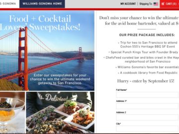 Williams-Sonoma Food + Cocktail Lovers' Sweepstakes