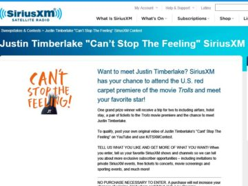 """Justin Timberlake """"Can't Stop The Feeling"""" SiriusXM Contest"""
