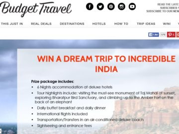 Budget Travel Dream Trip to Incredible India Sweepstakes