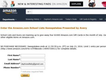 The Avery Amazon School Lists Sweepstakes
