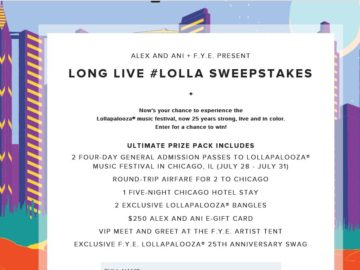 Alex and Ani & f.y.e (For Your Entertainment) Festival Flyaway Sweepstakes