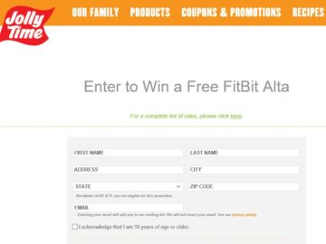 """Jolly Time Pop Corn Healthy Pop Challenge """"Win a Fitbit Alta"""" Sweepstakes"""
