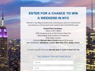 Michelin Weekend in New York City Giveaway Sweepstakes