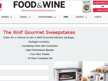"""The Food & Wine """"Wolf Gourmet"""" Sweepstakes"""