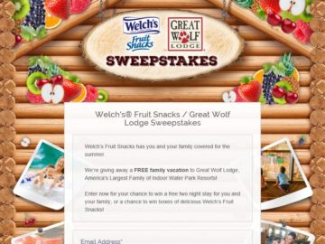 Welch's Fruit Snacks/Great Wolf Lodge Sweepstakes
