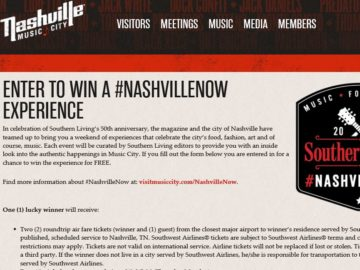 Southern Living's #NashvilleNow Sweepstakes