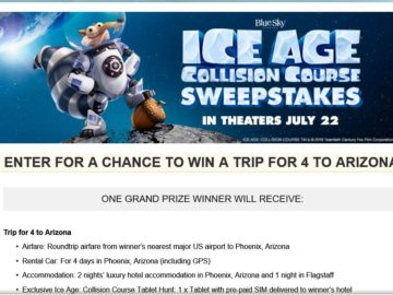 "The MovieTickets.com ""Ice Age: Collision Course "" Sweepstakes"