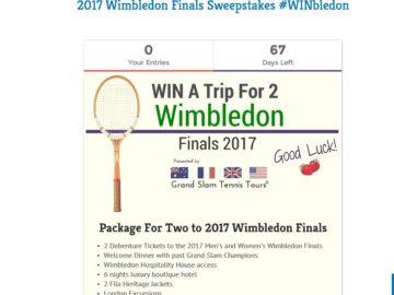 2017 Wimbledon Finals Sweepstakes