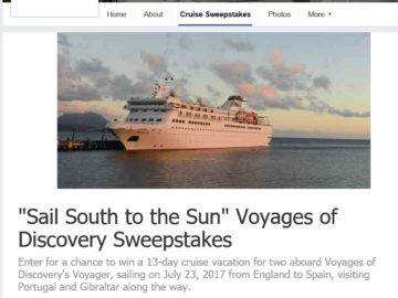 Voyages Of Discoverys SAIL SOUTH TO THE SUN Cruise Sweepstakes - Discovery sun cruise ship