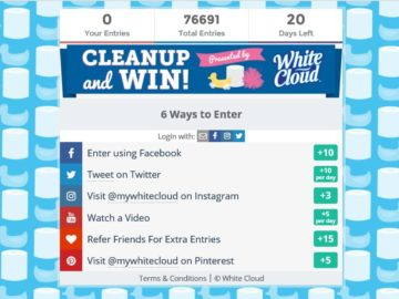 """The White Cloud """"Clean Up and Win"""" Sweepstakes"""