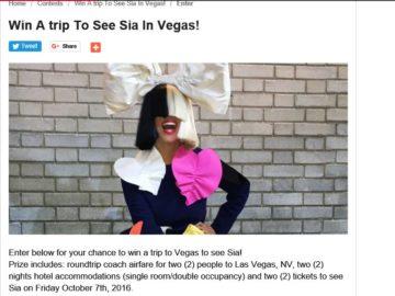 iHeartRadio Romeo's Sia Flyaway Sweepstakes
