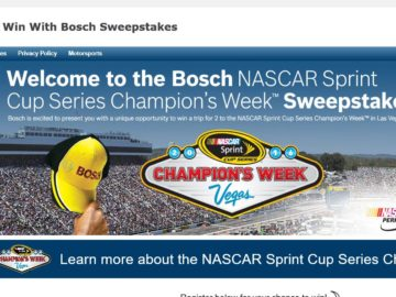 Bosch's NASCAR Sprint Cup Series Champion's Week Sweepstakes