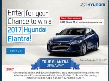 The Hyundai True Elantra Giveaway Sweepstakes