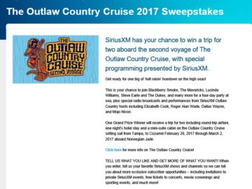 The SiriusXM Outlaw Country Cruise 2017 Sweepstakes
