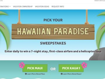Vistana Pick Your Hawaiian Paradise Sweepstakes