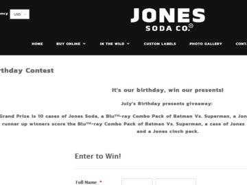 """The Jones Soda """"Birthday Gift"""" Giveaway Sweepstakes"""