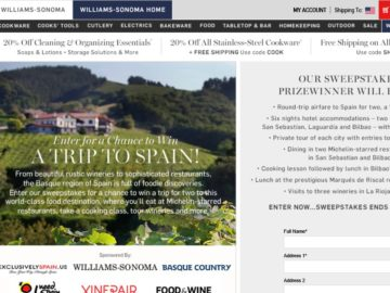 The 2016 Williams-Sonoma Win a Trip to Spain Sweepstakes