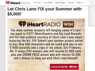 """iHeartRadio Have Chris Lane """"Fix"""" your Summer! Sweepstakes"""