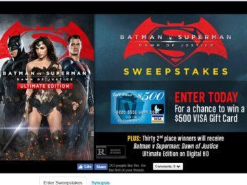 Warner Bros. Batman v Superman: Dawn of Justice Ultimate Edition Sweepstakes