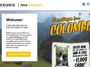 Keurig Java Journeys Sweepstakes