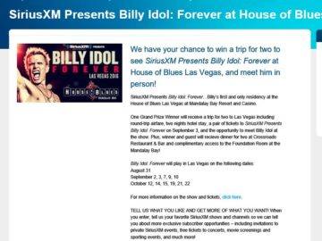 SiriusXM Presents: Billy Idol Forever at House of Blues Las Vegas Sweepstakes