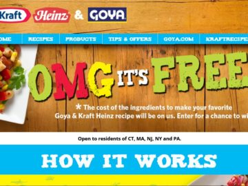 "Goya/Kraft Heinz ""OMG, It's Free!*"" Sweepstakes – Select States"