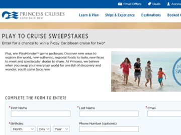 Princess Cruises Play to Cruise Sweepstakes