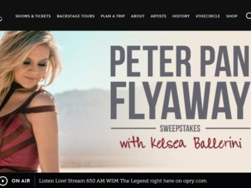 Grand Ole Opry Peter Pan Flyaway with Kelsea Ballerini Sweepstakes