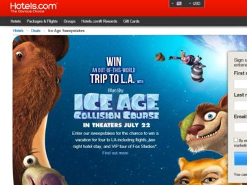 "Hotels.com ""Ice Age Collision Course"" Sweepstakes"