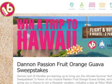 16 Handles and Dannon Passion Fruit Orange Guava Sweepstakes