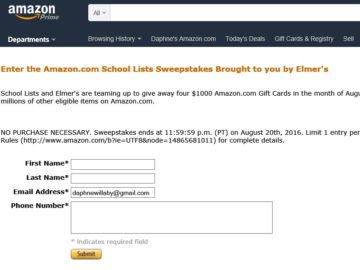 The Amazon and Elmer's School Lists Sweepstakes