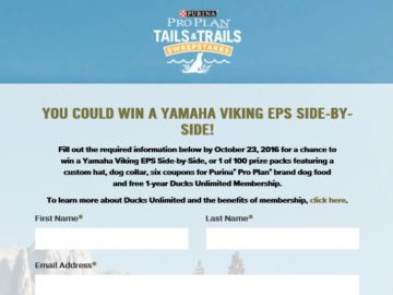 The Purina Pro Plan Tails & Trails Sweepstakes