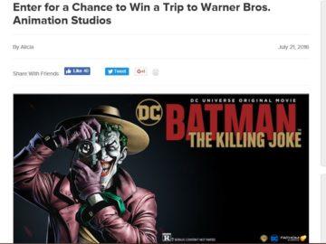 The Warner Bros. Animation Studio Tour For Batman: The Killing Joke Sweepstakes