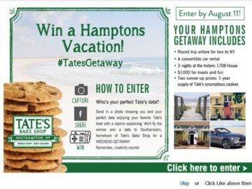 "Tate's Bake Shop's ""Tate's Getaway"" Photo Contest"