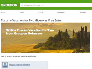Groupon's Tuscan Getaway for Two Giveaway Sweepstakes